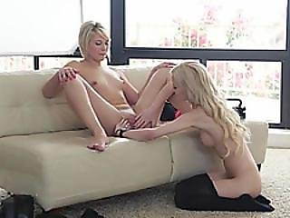 Blonde Babes Lick Each Other Pussies Then Suck A Big Cock