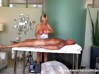 Stort Bryst, Blond, Sædshot, Facial, Massage, Milf, Pornostjerne, Hustru