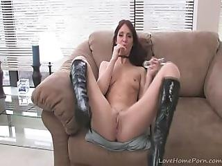 Lovely Babe In Black Boots Starts Masturbating