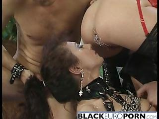 Awesome Orgy With Horny Latex Sluts Black Chick Gets Horny After That And Calls Her White Lover Guy Banged Her Tight Cunt And Made Her Moan From Pleasure
