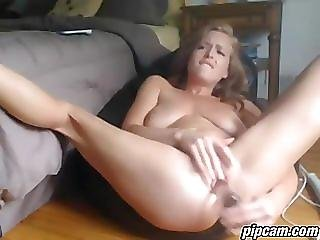 Hot blonde milf squirts on cam
