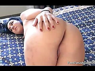 Black Hair Gal Going To Have A Footjob