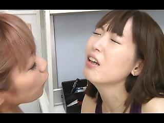 Japanese Lesbian Spitting Kissing