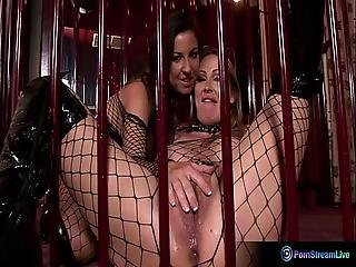 Mandy Bright And Maria Belucci Extreme Dildo Playing At The Cage