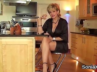 Buxom Bisexual Housewife Lady Sonia Teases Her Monster Tits And Pleasures Tight Slit In Lingerie