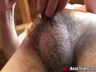 Curly Pierced Gay Guy Is Wanking His Long Hairy Boner And Penetrating His Ass Hole Deep With His Fingers While Sexting