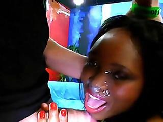 Ebony Babe Gets Facial