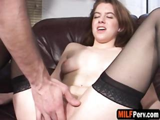 Brunette Milf Pounded With Fat Dick
