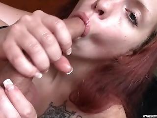 Pretty Readhead Kisses My Curved Cock - Huge Facial