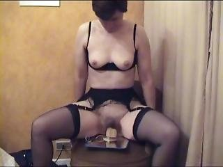 Horny Mature Housewife Fucks With Her Dildo In Black Seamed Stockings