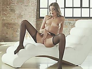 anal, cul, belle, doigtage, lingerie, petite, chatte, russe, maigre, doucement, solo