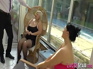 Busty British Granny Rides Face And Cock In Hardcore Ffm Threeway