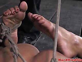 Ebony Submissive Hogtied By Dom