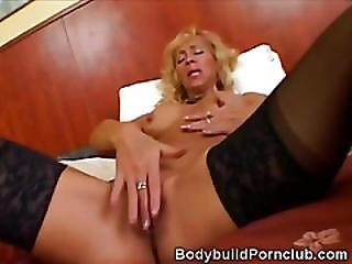 Blonde Mature Fitness Hottie Plays With A Huge Dildo