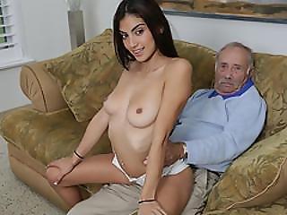 Pretty Michelle Martinez Bangs By An Old Man