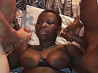 Busty African Babes First Threesome Orgy