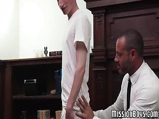 Hunky Mormon Pastor Got His Perverted Hands On Yet Another Young Pupil Who Is Willing To Do Anything That His Elder Asks Him!