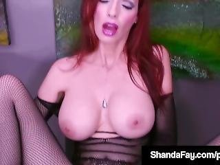 Hot Cougar Shanda Fay Finger Fucks In Crotchless Stocking!