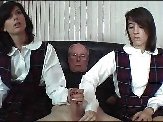 Cfnm, Cumshot, Handjob, Old, Older Man, School, Teen