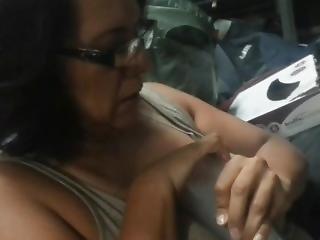 Big Tit Tweaker Blows Cloud Into Glass
