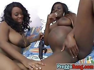 Two Lusty Pregnant Ebony Babes Plesure Themselves With Sex Toys