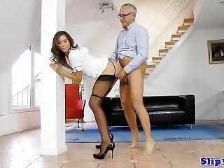 Stockinged European Nurse Cockriding Oldman