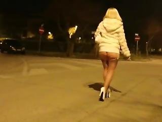 Hot & Sexy Blonde Milf Walking In Way Too Short White Dress Ass Exposure !