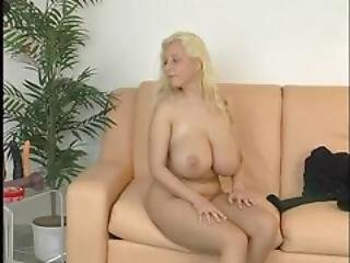Blonde, Busty, Dildo, European, Hugetit, Solo, Stripping