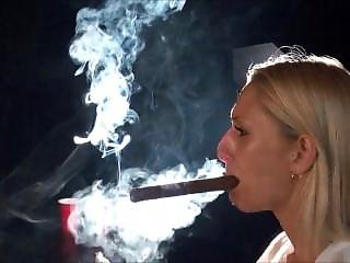 Hot Cigar Smoking Blonde