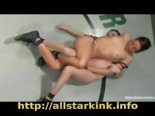 Women Wrestle Nude And The Loser Gets A Strap On.