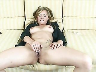 Blondie Massturbates With A Glass Dildo Before Sucking Cock