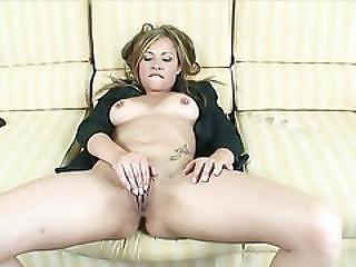 Blondie Massturbates With A Glass Dildo Before Sucking Cock