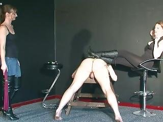 Mistress Jo & Friend Whip And Kick Slave Pt2