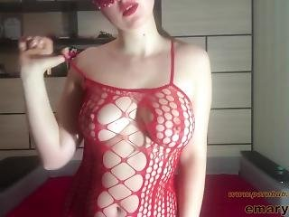 Amateur Striptease In Red Fishnet Full Bodysuit Stockings And Clit Rubbing