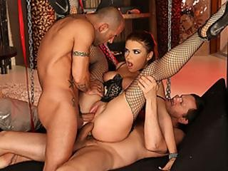 Busty Russian Slave Sucks And Double Penetrated By Bigcocks