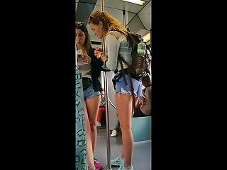 Two Candid Teen Asses In Short Jeans