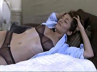 Marie Pape Lying On Bed Is Sexy See Through Lingerie And