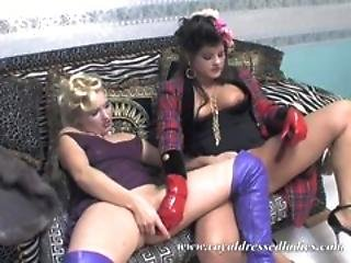 Two Chic Sluts Flying High Fully Clothed Sex With Vibrator Fucking In Boots