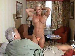 Sexy Mature Muscle Queen Ginger Messes Around With Some Old Guy