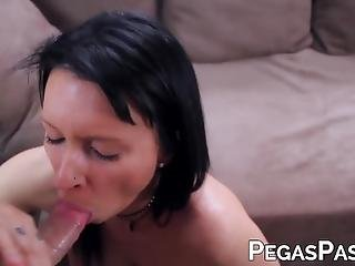 Busty Milf In Lingerie Peaches Gold Sucks Dick In Pov