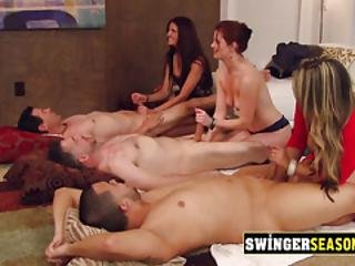 Latin Couple Got Into A Big Swing Party To End At The Red Orgy Room.