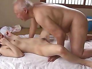 Cute girl loves the old man