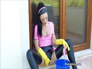 Liza   Hot Latex Yellow Rubber Gloves Maid