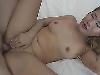 Blonde Asian Babe Fucked Hard By A Massive White Cock In Pov!