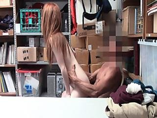 Redhead Petite Teen Hops On Top And Rides The Lp Officers Cock