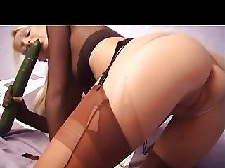 Anal, Blonde, British, Cucumber, Masturbation, Nylon