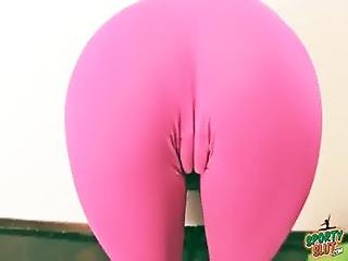 Latina Teen Cameltoe Stretching In Tight Lycra Pants Booty