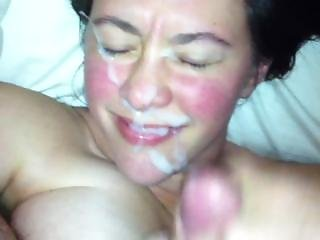 Huge Amateur Facial On Hot Milf Cumslut