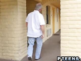 Two Horny Older Man Are Very Excited About Having A Sex With Hot Young Chick They Get To Her House And Soon Dudes Get Naked Before Slut Sucks Hard Cock And Get Her Pussy Fucked