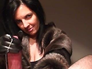 Furry Gloves Porn - Klixen Handjob On Fur Coat And Leather Gloves
